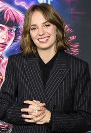Maya Hawke styled her pinstriped suit with some pearl rings for the New York screening of 'Stranger Things' season 3.