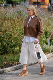 Martha Stewart headed to the shows during New York Fashion Week wearing a tough-looking leather jacket.