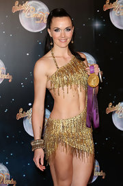 Victoria Pendleton showed off her super-fit body (and dancing prowess) in a beaded gold cutout dress.