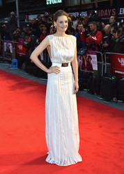 Romola Garai looked statuesque in a white sheer-panel column dress during the BFI London Film Fest premiere of 'Suffragette.'