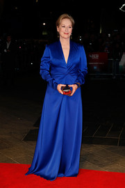 Mery Streep looked downright regal in a cobalt silk gown by Lanvin during the BFI London Film Fest premiere of 'Suffragette.'