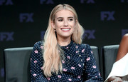 Emma Roberts wore her hair in beachy blonde waves at the Summer 2018 TCA Press Tour.
