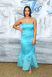 Jorja Smith was a breath of fresh air in a bright blue mermaid gown by Rejina Pyo at the 2019 Serpentine Gallery Summer Party.