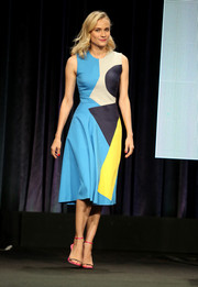 Diane Kruger looked modern and vibrant in a color-block, geometric-print dress by Roksanda during the Summer TCA Tour.