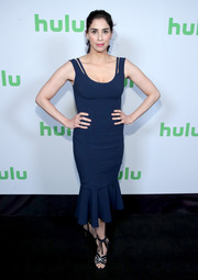 Sarah Silverman cut a sleek silhouette in a form-fitting blue dress with a ruffle hem at the Hulu Summer TCA event.