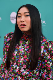 Awkwafina wore her hair down in a pin-straight style at the LA premiere of 'The Farewell.'
