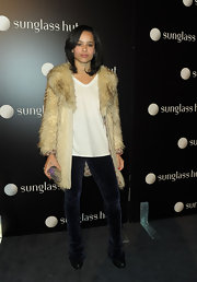 Rock star daughter Zoe Kravitz showed off her city chic style in this fur coat which she paired with velvet leggings.