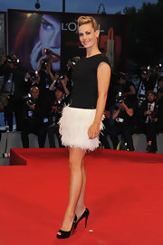 This feathered dress was fun and fresh on Cecile De France at the 69th Venice Film Festival.
