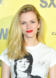 Brooklyn Decker brightened up her face with a swipe of scarlet lipstick.