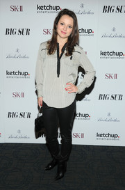 Sasha Cohen was edgy on the bottom half in black leather pants and pointy boots during the 'Big Sur' premiere in NYC.