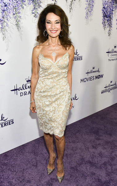 Susan Lucci Evening Pumps [red carpet,dress,clothing,cocktail dress,fashion model,shoulder,strapless dress,hairstyle,fashion,long hair,premiere,susan lucci,summer tca,residence,beverly hills,california,hallmark channel]