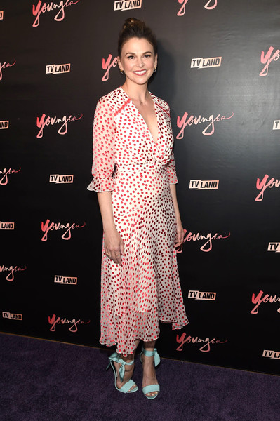 Sutton Foster Print Dress [younger season four,clothing,dress,premiere,carpet,red carpet,hairstyle,fashion,flooring,footwear,fashion design,mr.,sutton foster,new york city,purple,premiere party,younger season four premiere party]