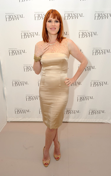 Molly Ringwald was a stunner in her lace-panel gold cocktail dress.