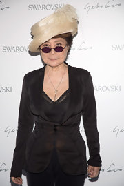 Yoko Ono wore a fitted blazer that highlighted her hourglass figure as she attended the Swarovski Celebration Of Crystal and Art.