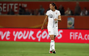 Alex Morgan makes Nike proud in this US soccer jersey.