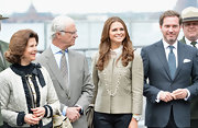 Princess Madeleine wore a cropped taffeta jacket as she and her family visited Castle Clinton.