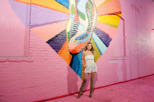 Sydney Sweeney Over the Knee Boots [pink,orange,yellow,wall,art,line,mural,street art,visual arts,modern art,pandora street of loves,los angeles,california,sydney sweeney]