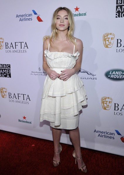 Sydney Sweeney Evening Sandals [clothing,cocktail dress,dress,shoulder,hairstyle,joint,premiere,red carpet,carpet,event,sydney sweeney,tea party,beverly hills,the four seasons hotel,los angeles,california,bafta]