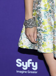 Meaghan Rath chose a silver and crystal bracelet for her sleek and sexy red carpet look.