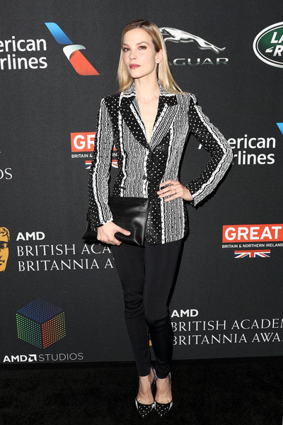 Sylvia Hoeks Leggings [clothing,carpet,fashion,premiere,suit,performance,event,flooring,outerwear,formal wear,arrivals,sylvia hoeks,british academy britannia awards,the beverly hilton hotel,beverly hills,california,amd,american airlines,jaguar land rover]
