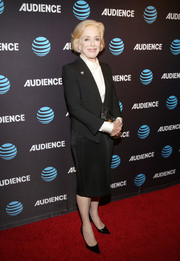Holland Taylor went business-chic in a black skirt suit at the premiere of 'Mr. Mercedes.'