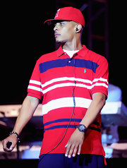 T.I. showed off his striped polo while hitting the stage in New York.