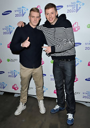 Professor Green wore blue Nike tennis sneakers for a bit of color to his ensemble at T4's Stars of 2010.