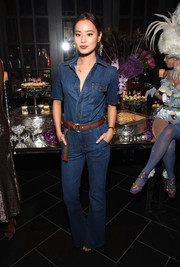 Jamie Chung looked oh-so-cool in her denim jumpsuit at the TAO, Beauty & Essex, Avenue and Luchini LA grand opening.