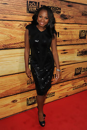 Naturi sparkles in a black sequined cocktail dress for the TCF Screenings Party.