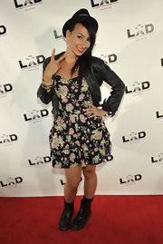 Lindsey B paired her leather jacket with a floral print dress.