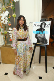 Priyanka Chopra looked sweet and demure in a pastel floral maxi dress at the THR Power Business Managers Breakfast.