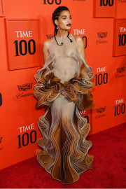Indya Moore flashed some flesh in a sheer nude and bronze ruffle gown by Iris van Herpen Couture at the 2019 Time 100 Gala.