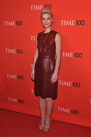 Claire Danes looked avant-garde at the Time 100 Gala in this rich red leather sheath dress.