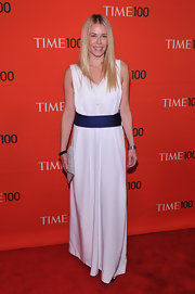 Chelsea Handler tried a different look at the Time 100 Gala in this simple white gown.