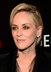 Sharon Stone looked stylish with her short side-parted 'do at the screening of 'Agent X.'
