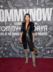 Aimee Song sported a black leather blazer at the TOMMYNOW New York Fall 2019 show.