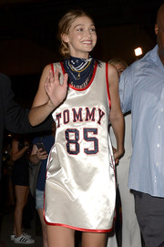 Gigi Hadid was sporty-cute in a Tommy Hilfiger satin basketball dress during the brand's fashion show.