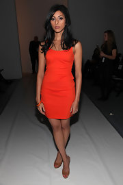 Reshma Shetty showed off her slim physique in an orange tank dress at the Cynthia Steffe Fall 2011 fashion show.