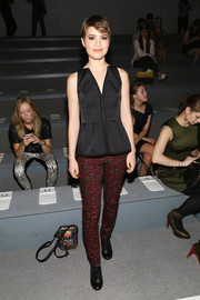 Sami Gayle's black zip-front peplum top at the Nanette Lepore fashion show was equal parts edgy and girly.