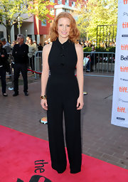 Jessica Chastain was sexy on the red carpet in a black jumpsuit. The halter jumpsuit with playful buttons was picture perfect on the gorgeous redhead.