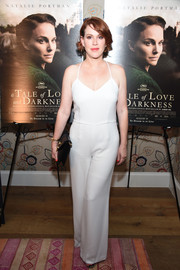 Molly Ringwald went for relaxed sophistication in a white spaghetti-strap jumpsuit at the New York premiere of 'A Tale of Love and Darkness.'