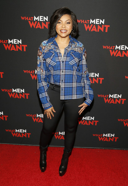Taraji P. Henson Leggings [film,plaid,clothing,premiere,carpet,tartan,pattern,fashion,outerwear,design,footwear,taraji p. henson,washington dc,regal gallery place,paramount pictures,what men want special washington dc screening,screening]