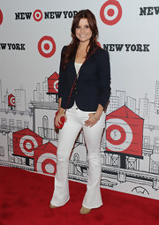 Jo Anna Garcia went with a nautical trend and paired her white trousers with a blue blazer.