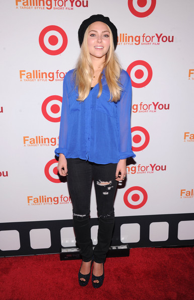 More Pics of AnnaSophia Robb Peep Toe Pumps (1 of 4) - AnnaSophia Robb Lookbook - StyleBistro [falling for you,clothing,joint,electric blue,carpet,shoulder,footwear,tights,leggings,event,premiere,annasophia robb,ny,terminal 5,target,event,event]