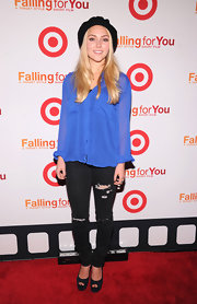 Annasophia Robb's sparkly blue peep toe pumps were a totally surprising, and eye-catching, way to complete her otherwise laid-back look.