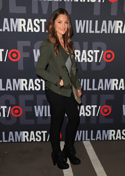Minka Kelly looked urban cool in black lace-up ankle boots. The heeled boots were the perfect complement to black skinny jeans and an olive jacket.