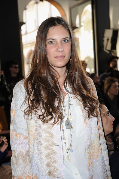 Tatiana Santo Domingo Gold Charm Necklace [hair,hairstyle,fashion,long hair,beauty,brown hair,layered hair,fashion design,event,street fashion,tatiana santo domingo,front row,part,milan,italy,missoni,milan fashion week womenswear autumn,missoni autumn,fashion show,milan womenswear fashion week]