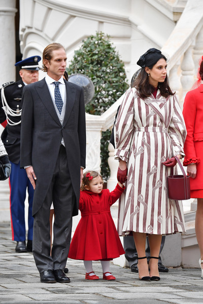 Tatiana Santo Domingo Printed Coat [red,street fashion,fashion,event,suit,outerwear,dress,formal wear,photography,style,andrea casiraghi,tatiana santo domingo,l-r,monaco,india,monaco palace courtyard,monaco national day celebrations]