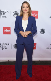 Jodie Foster opted for a blue pantsuit teamed with a white blouse when she attended the 'Taxi Driver' 40th anniversary celebration.