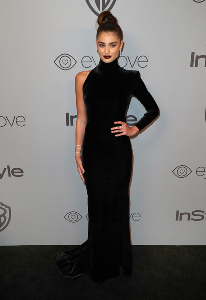 Taylor Hill Form-Fitting Dress [little black dress,fashion model,flooring,dress,shoulder,formal wear,gown,fashion,cocktail dress,carpet,model,beverly hills,california,the beverly hilton hotel,instyle,taylor hill,red carpet,warner bros. 75th annual golden globe awards,warner bros. 75th annual golden globe awards post-party]